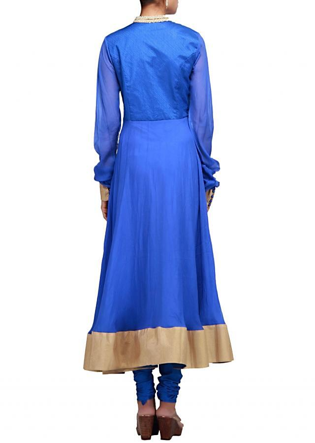 Blue anarkali suit with bodice highlighted in thread