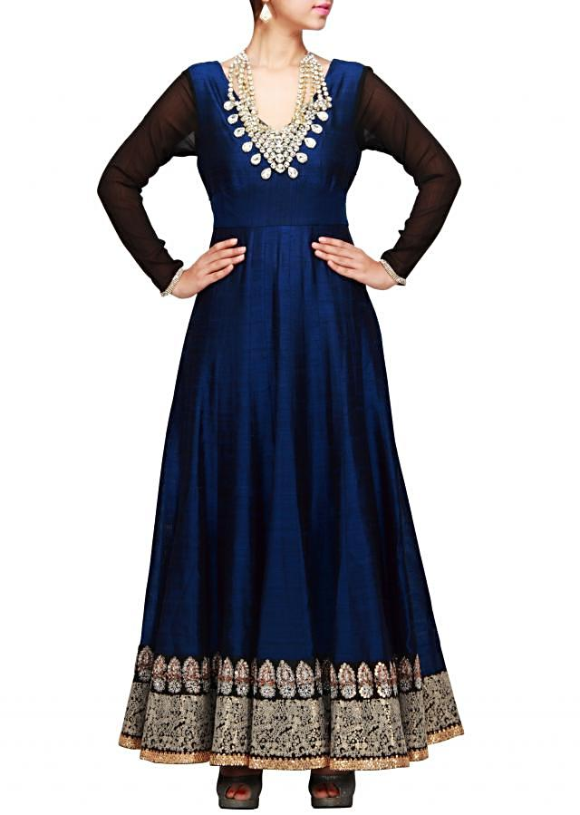 Blue anarkali suit with neckline done in stone necklace only on Kalki