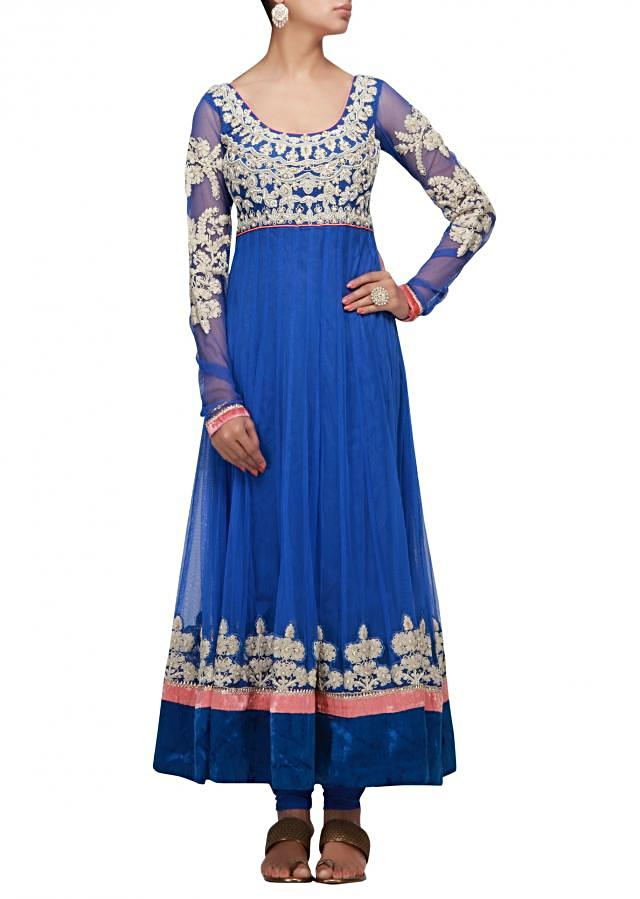 Blue anarkali suit with thread and moti work
