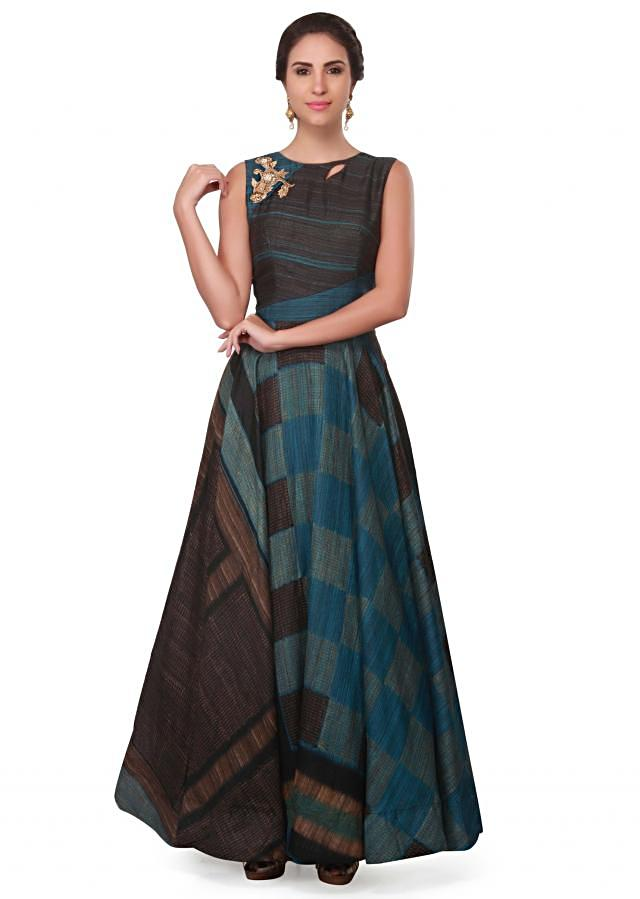 Blue and brown printed dress with embroidered neckline only on Kalki