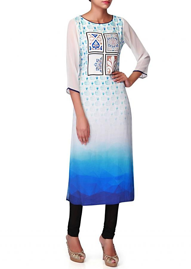 Blue and cream kurti in  abstract motif print in floral motif only on Kalki