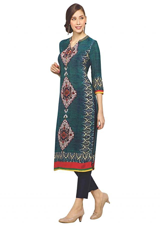 Blue and green kurti features with digital print