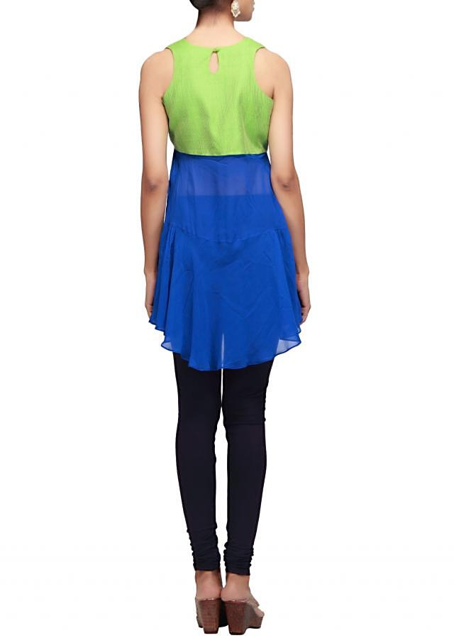 Blue and green kurti with thread work