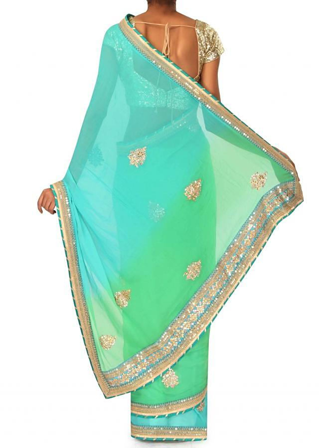 Blue and green saree in gotta patch embroidered border only on Kalki
