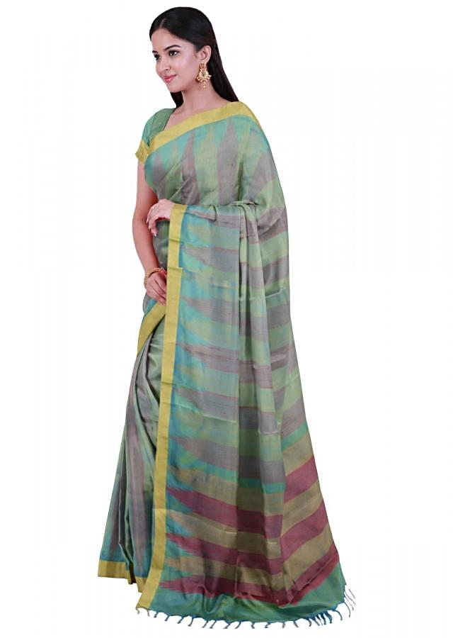 Blue And Green Banarasi Saree In Two Toned Silk With Matching Blouse Piece Online - Kalki Fashion