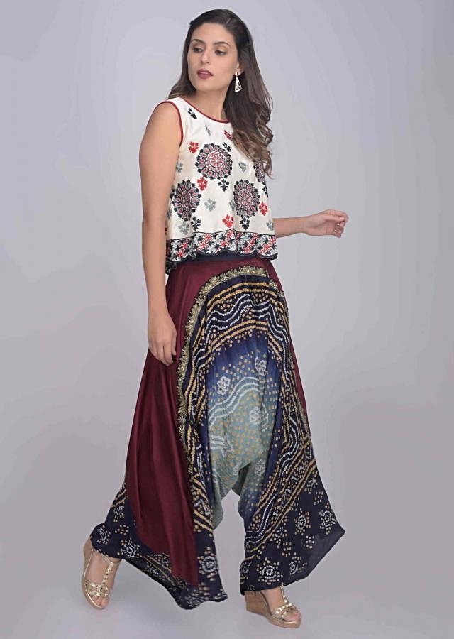 Blue And Maroon Low Crotch Palazzo Pants And Crop Top Set Online - Kalki Fashion