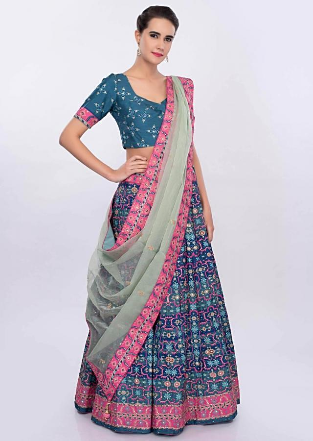 Blue And Pink Lehenga Set In Patola Printed With Pista Green Organza Dupatta Online - Kalki Fashion