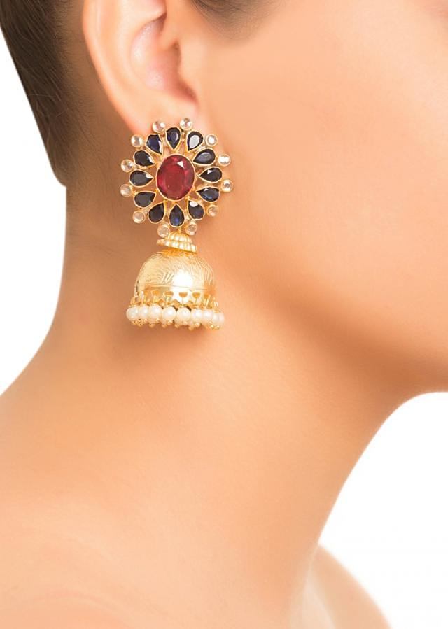 Blue and Pink Stone Floral Jhumki Earrings