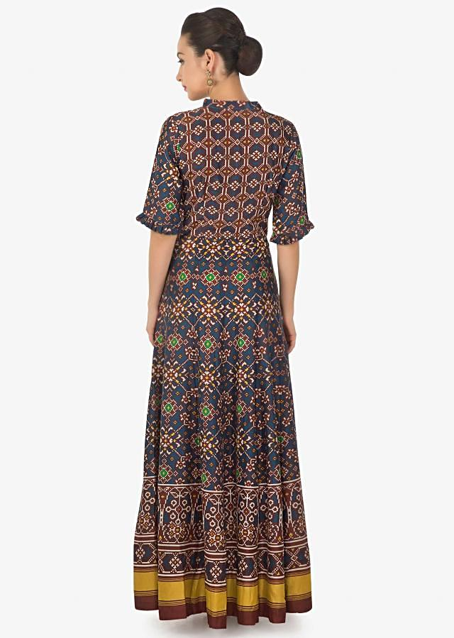 Blue and red long dress in patola silk with ikkat motif print only on Kalki