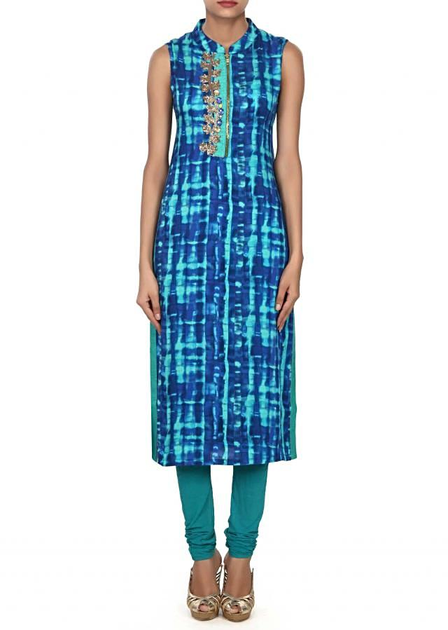 Blue and teal shaded kurti enhanced in zardosi and stone only on Kalki
