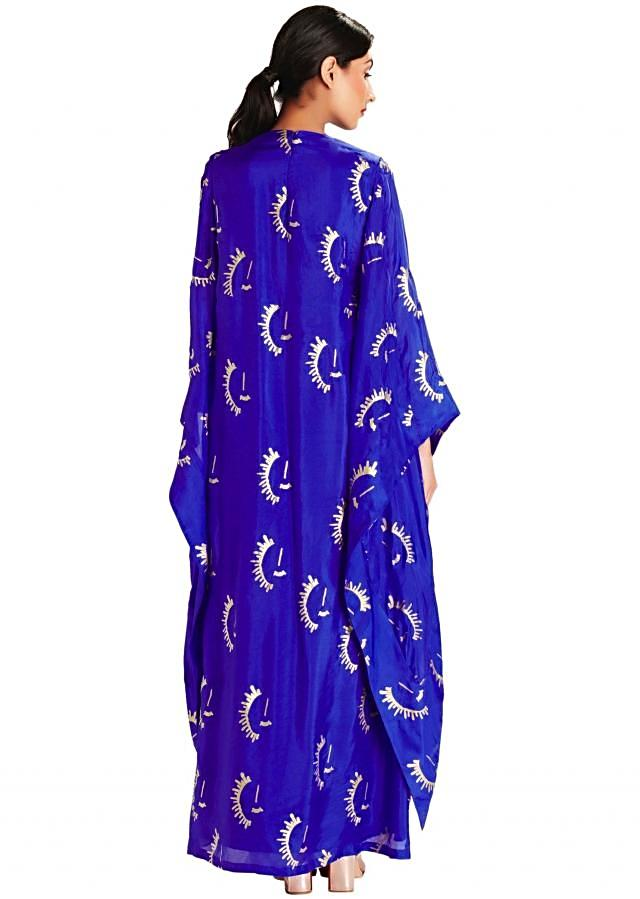 Blue assymetrical cape sleeve blouse by Masaba