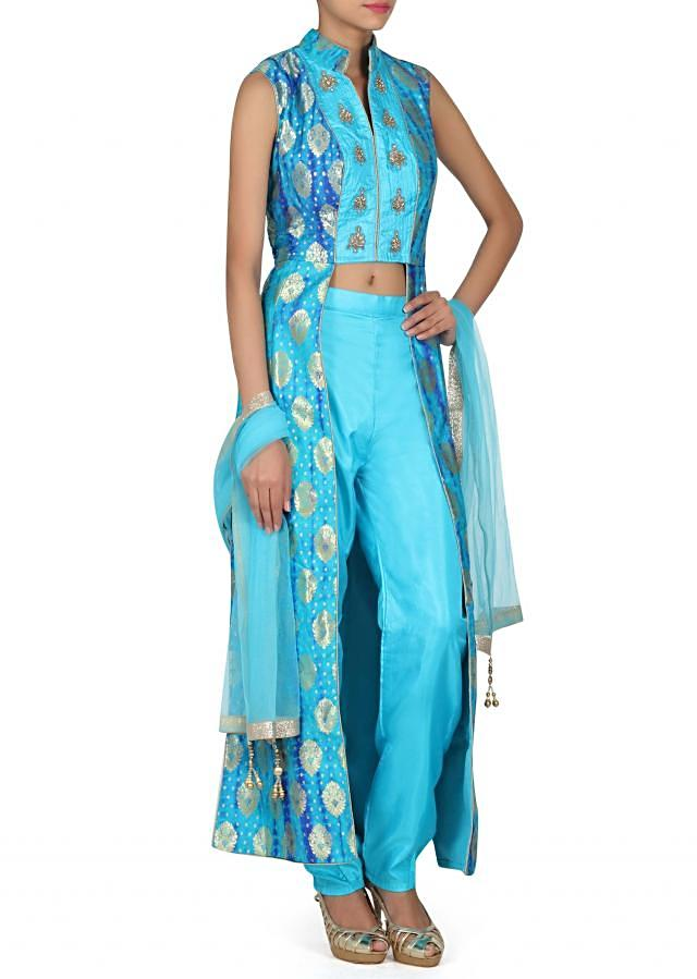 Blue batik printed suit matched with skirt and pant only on Kalki