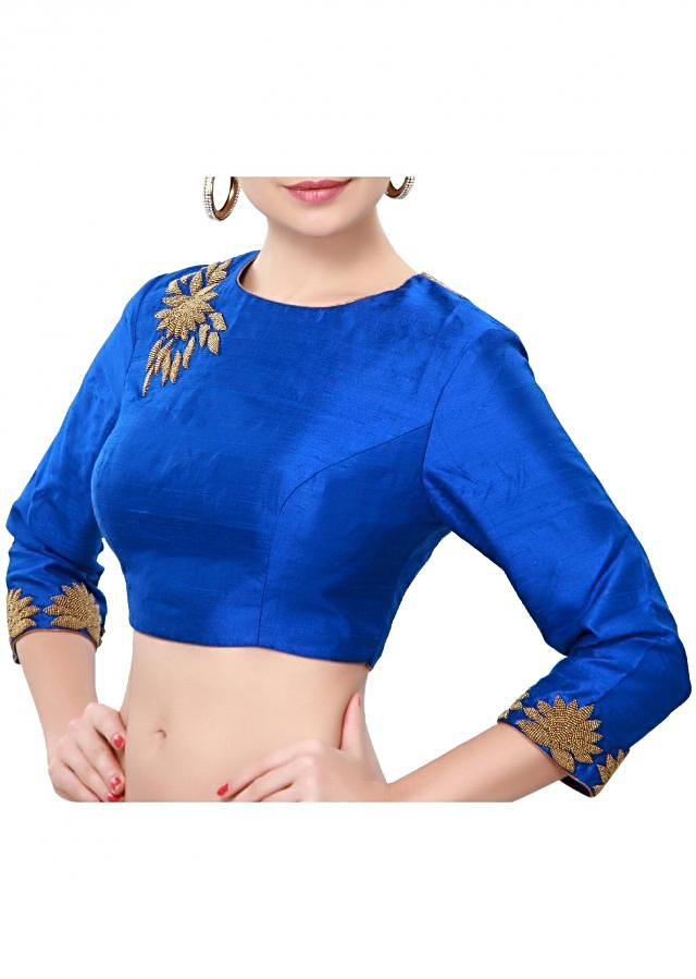Blue blouse adorn in moti embroidery only on Kalki
