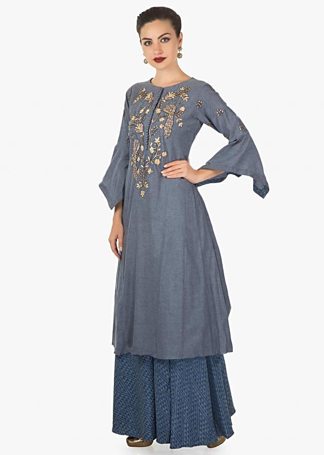 Blue cotton top embellished with zardosi and sequin in bird motif matched with a palazzo pant only on kalki