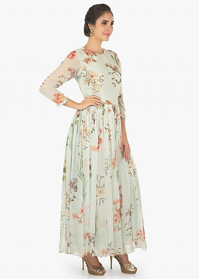 Blue Crepe jumpsuit in floral print further enhanced in sequins and moti motifs only on Kalki