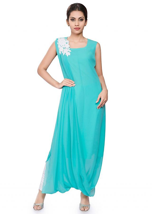 Blue draped tunic with off white embroidery on drape