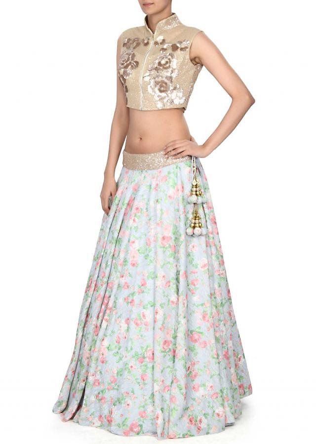 Blue floral printed lehenga with sequin blouse only on Kalki