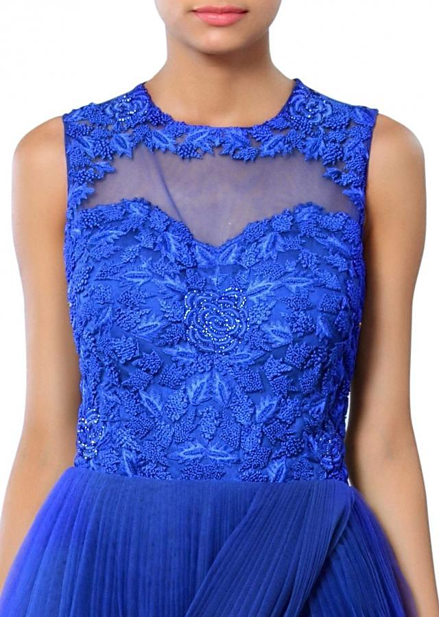 Blue gown adorn in french knot and cowl drape only on Kalki