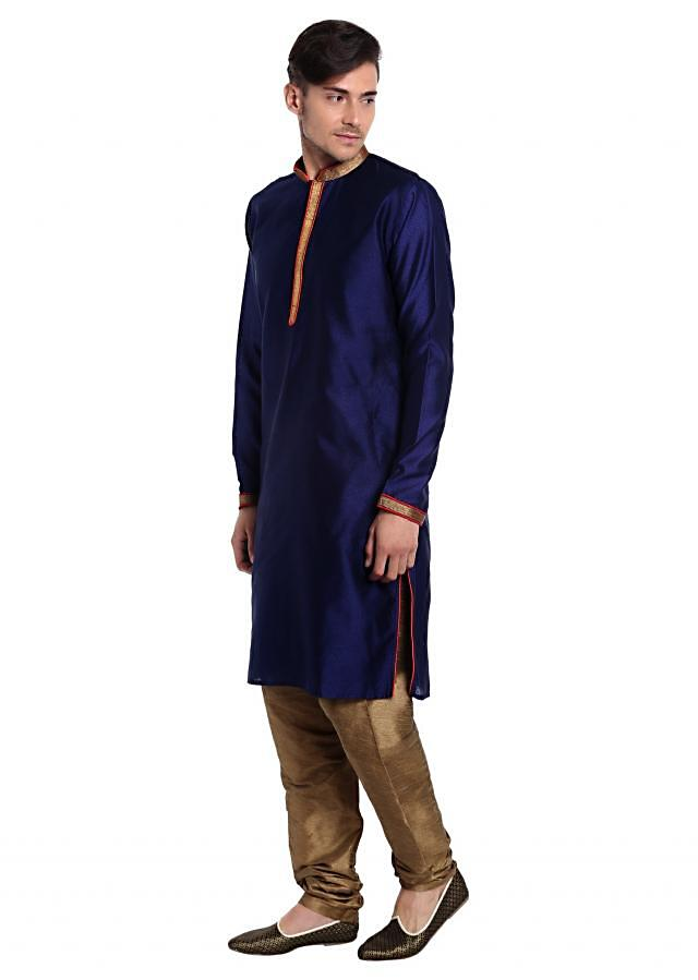 Blue Jacquard Silk kurta Featuring Cream Printed Cotton Waistcoat  only at Kalki
