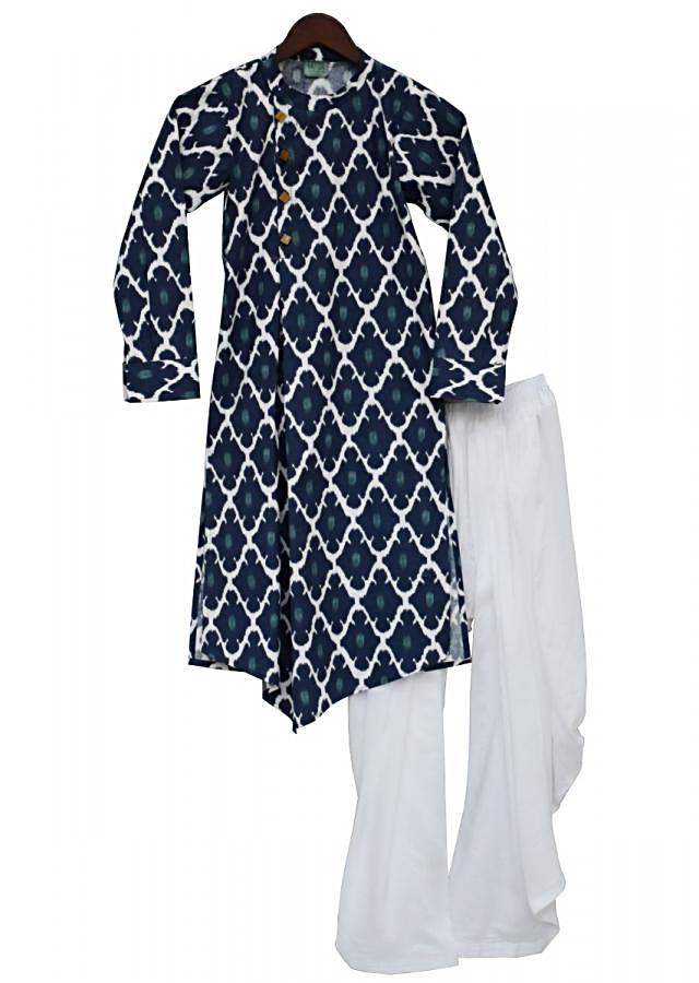 Blue Kurta With White Salwar Online - Kalki Fashion