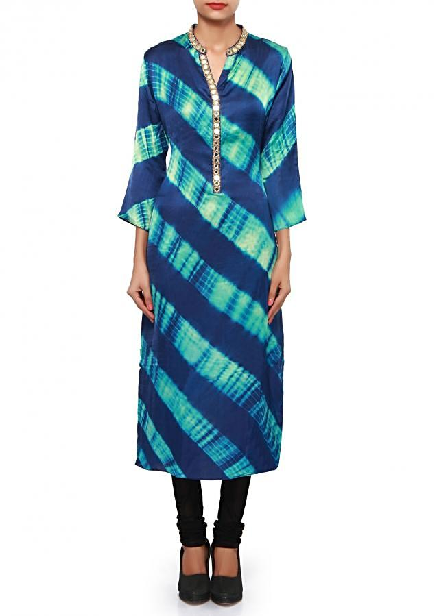 Blue kurti adorn in mirror and zari embroidery only on Kalki