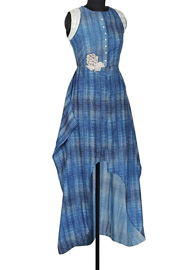 Blue kurti adorn in resham embroidered patch only on Kalki