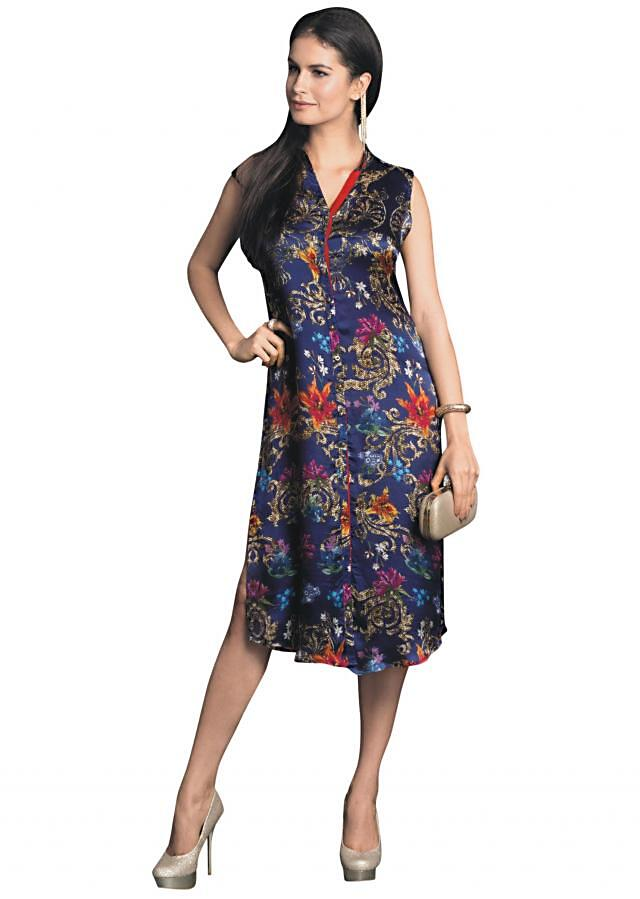 Blue kurti embellished in digital print