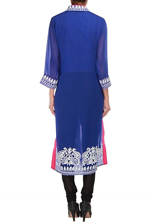 Blue kurti embellished in thread embroidery only on Kalki