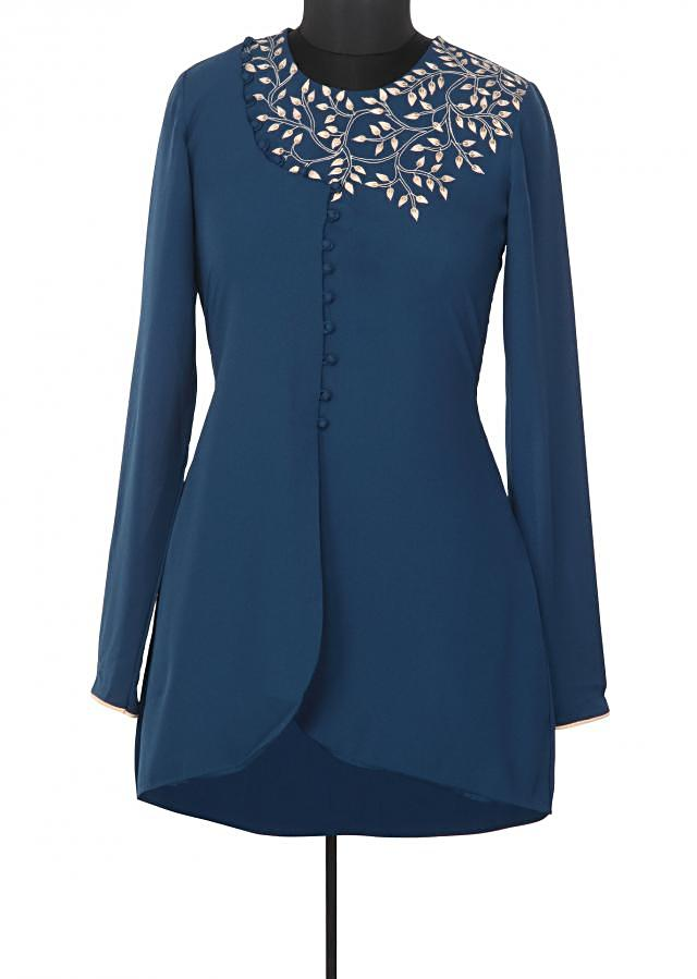 Blue kurti enahcned in thread embroidery only on Kalki