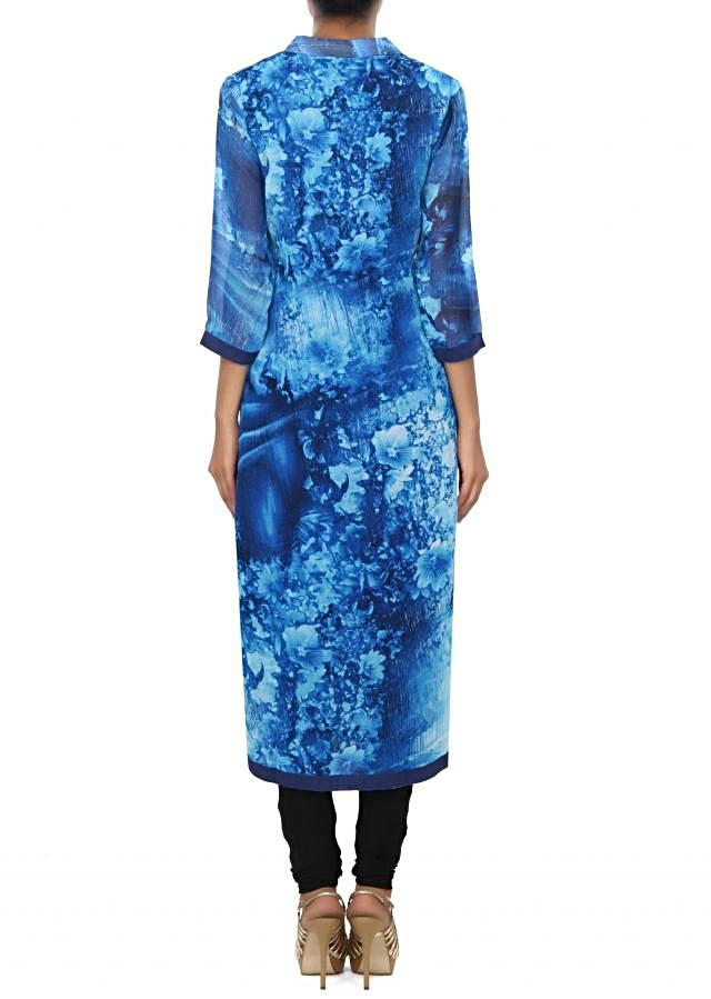 Blue kurti enhanced in print and stone embroidered placket only on Kalki