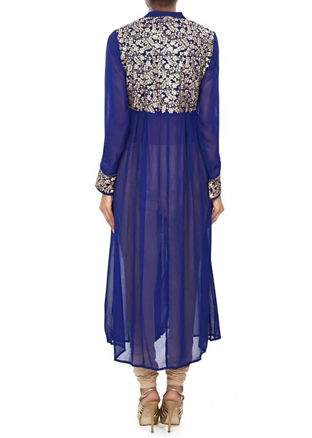 Blue kurti enhanced in thread and sequin bodice only on Kalki