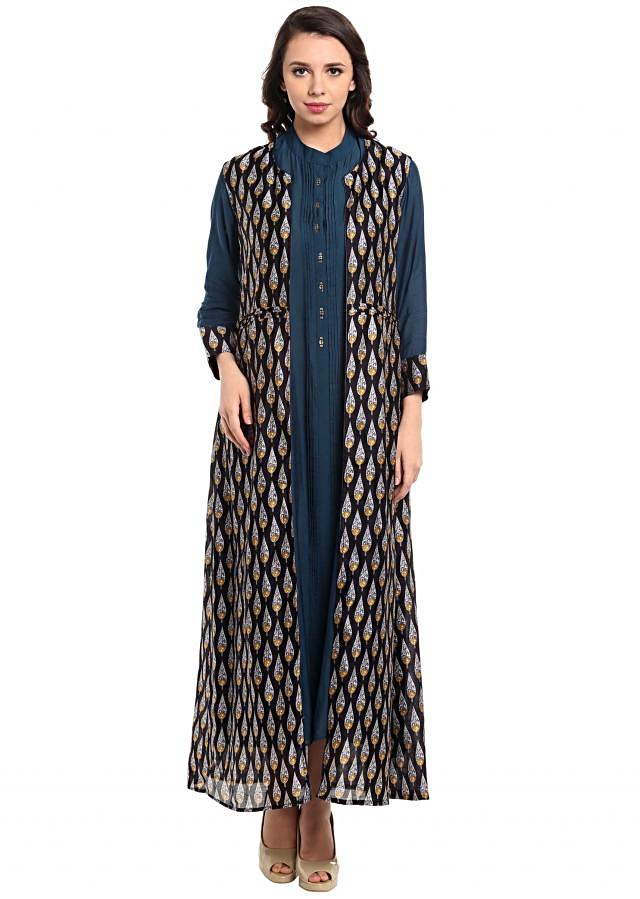 Blue kurti in with pleated placket and printed jacket only on Kalki