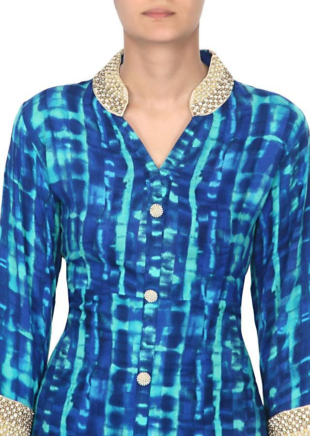 Blue kurti with embroidered collar only on Kalki