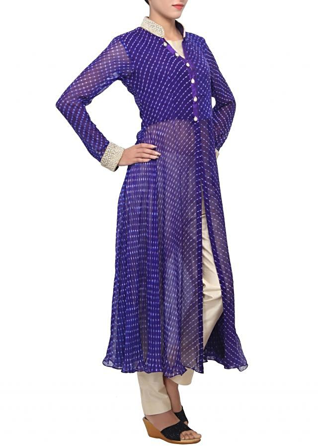 Blue leheriya suit embellished in pearl and stone embroidery only on Kalki