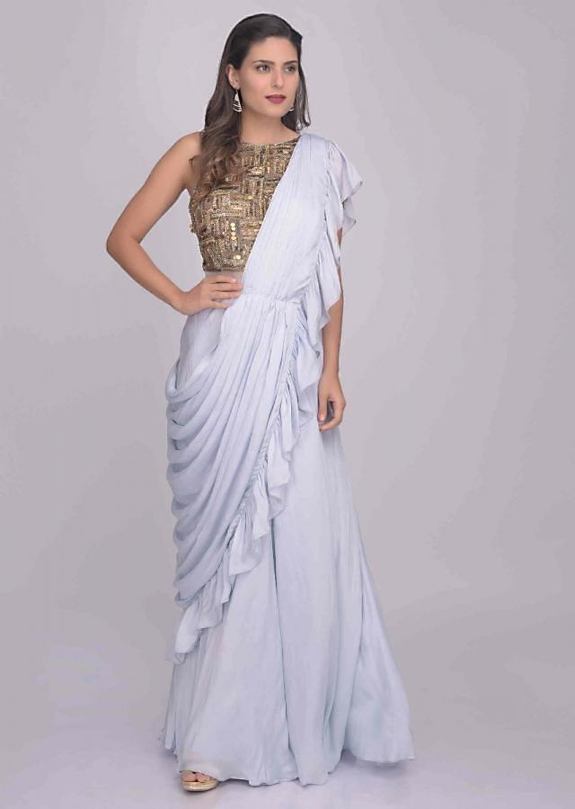 Blue Lilac Saree Gown In Satin Silk With Embellished Bodice Online - Kalki Fashion