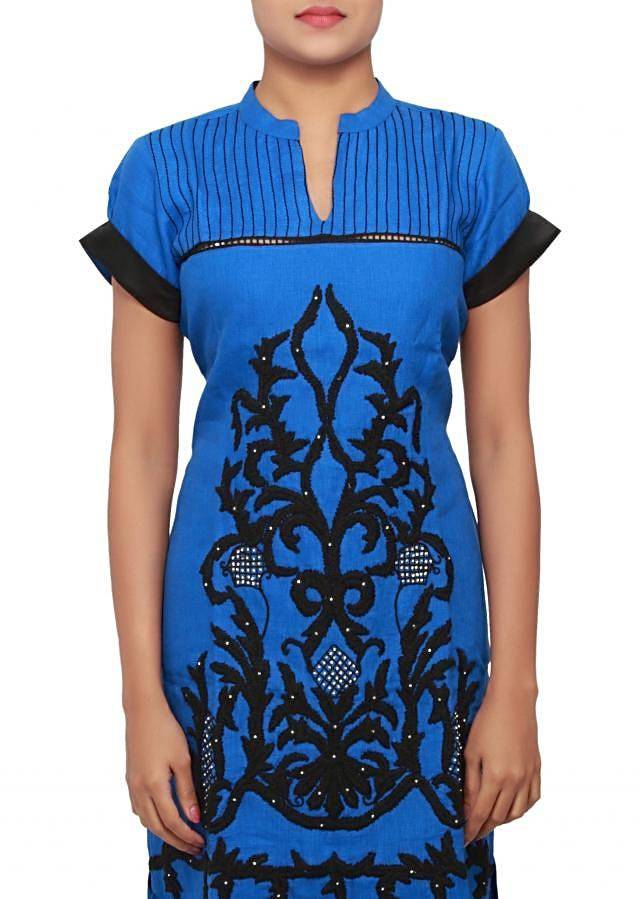 Blue linin kurti featuring in thread work only on Kalki