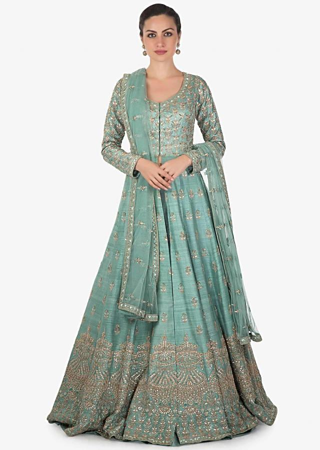 Blue Long jacket lehenga with Net Dupatta Studded with Zari, Sequins Only on Kalki
