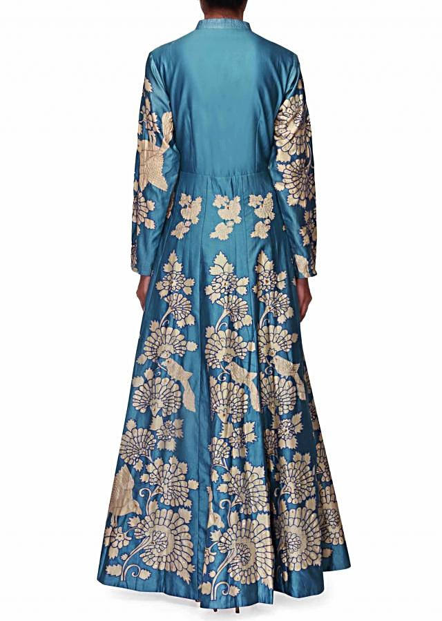 Blue long dress embellished in floral and bird motif all over only on Kalki