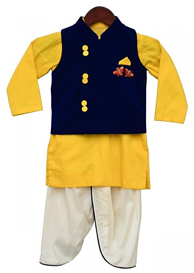 Blue Nehru Jacket in Velvet with Yellow Kurti And Off White Dhoti Pants By Fayon Kids