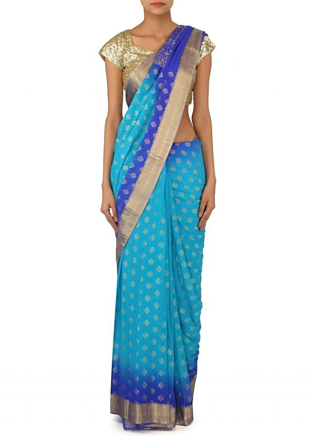 Blue ombre saree adorn in weaved butti only on Kalki