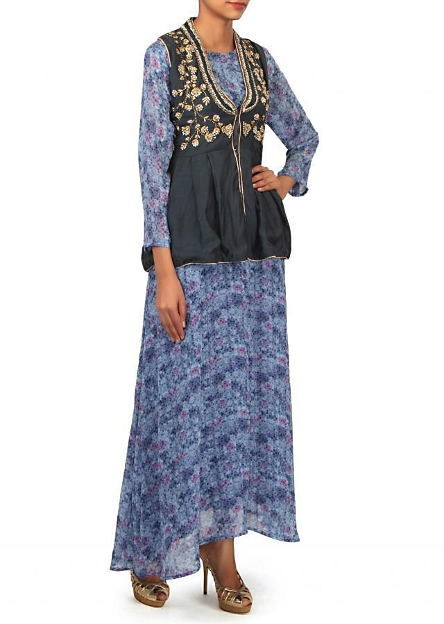 Blue printed kurti with sequin embroidered jacket only on Kalki