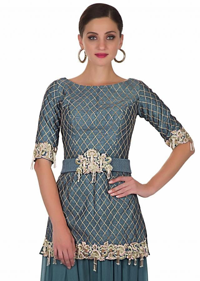Grey raw silk top with georgette palazzos in zari  only on Kalki