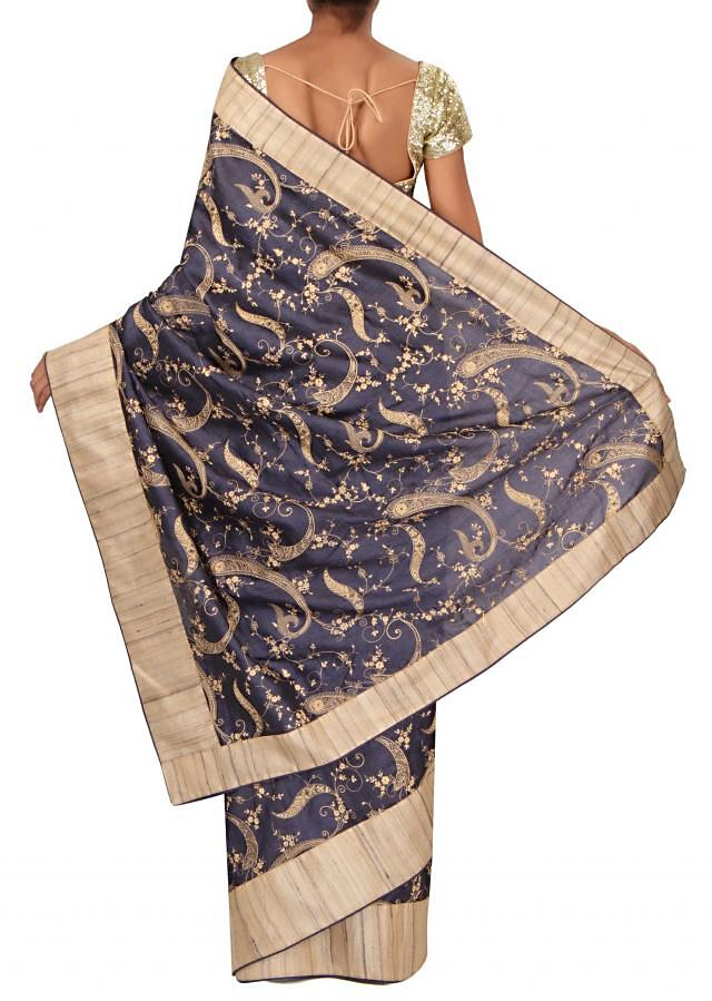 Navy blue saree adorn in paisley motif embroidery only on Kalki