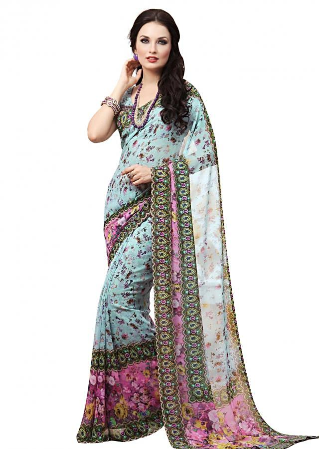 Blue saree features with floral and digital print