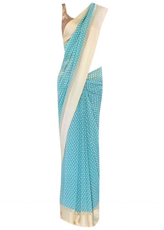 Blue saree in geometric print only on Kalki