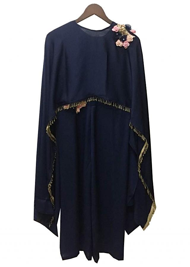 Blue Satin Silk Jumpsuit with Cape by Fayon Kids