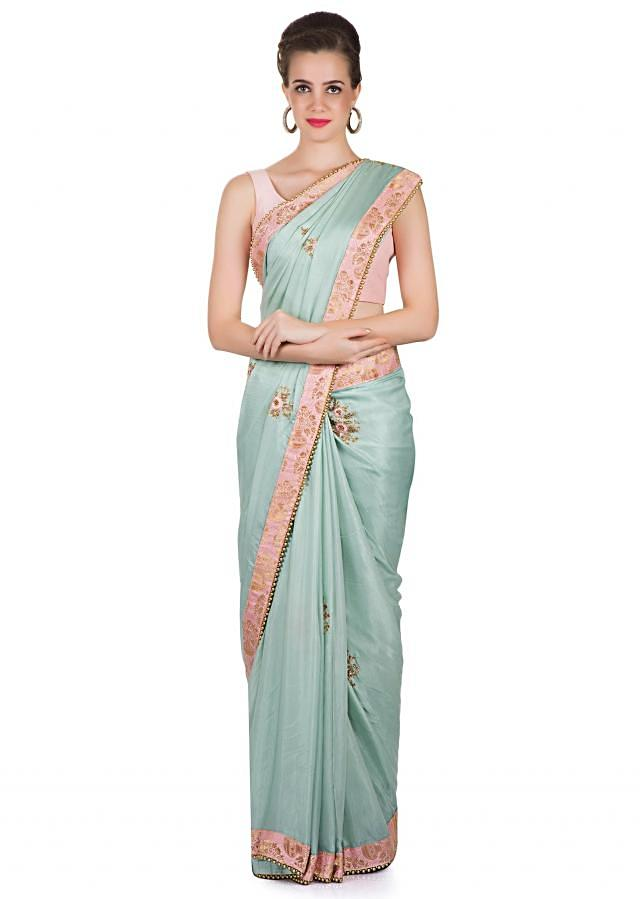 Blue Satin Silk Saree Styled with Embroidered Butti Only on Kalki