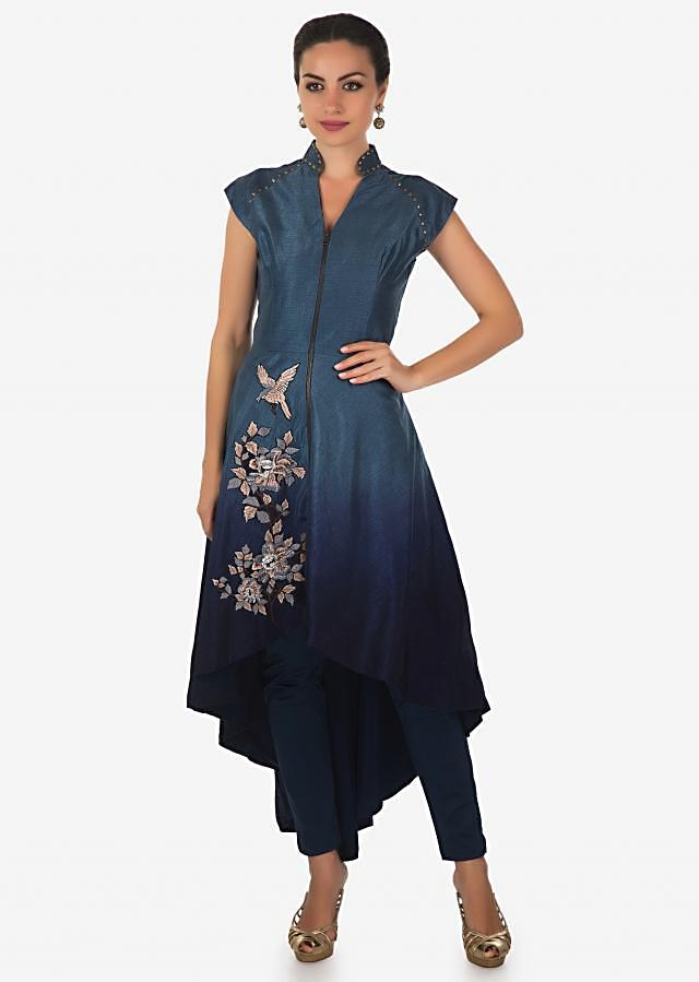 Blue shaded A line suit in asymmetric hem line and resham work only on Kalki