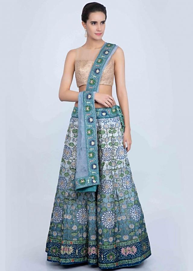 Blue shaded digital printed lehenga along with embroidery only on Kalki