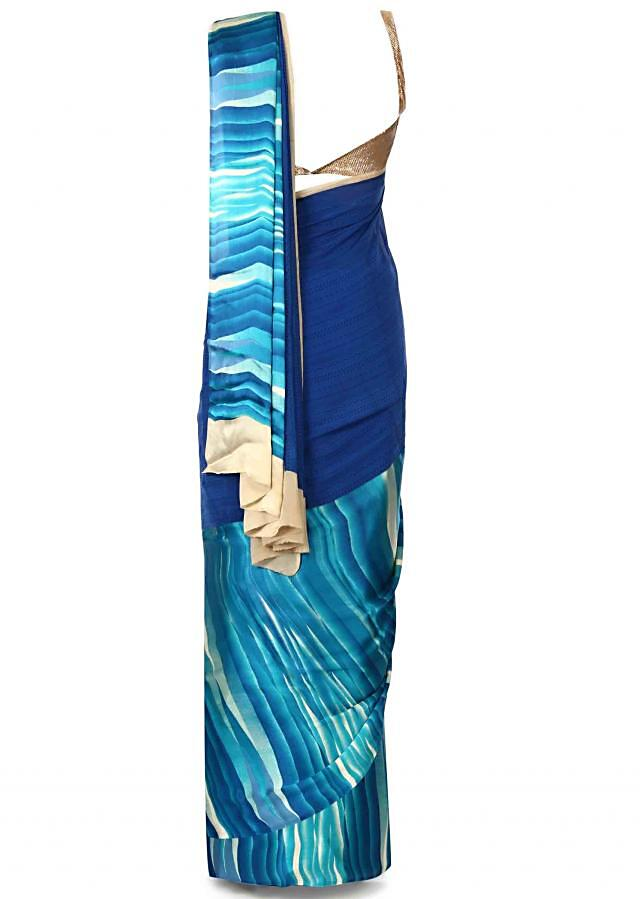 Spruce blue shaded saree in abstract print only on Kalki